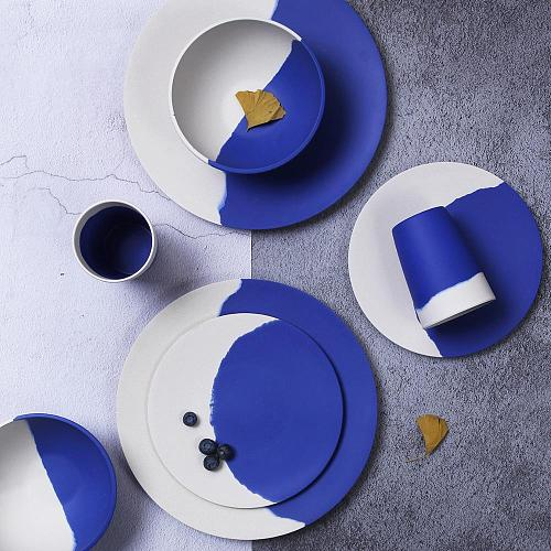 Bamboo Fiber Tableware Set  Blue and white Plates Bamboo dinnerware Plate Bowl Cup Set for Party Mother's Day Gift