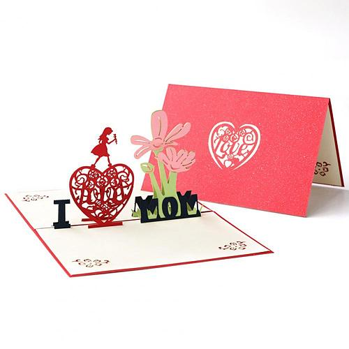 2021 Greeting Card Foldable Heart Shape Pattern Paper Holiday Creative Blessing Card for Birthday Mothers Day Cards Gifts