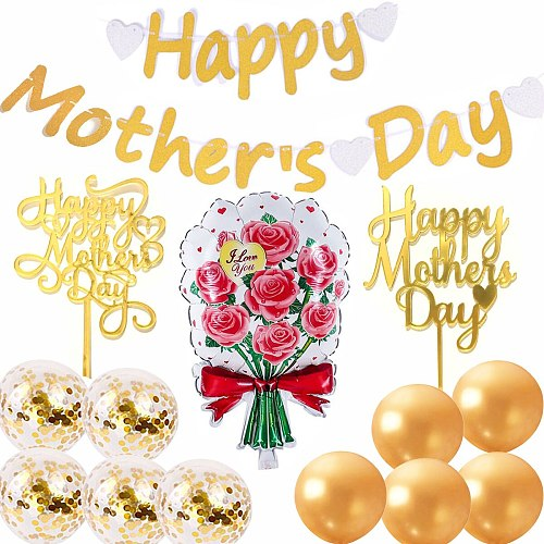 Happy Mother's Day Golden Banner, Party Decorations 2 Gold Cake Toppers 1 Foil Flower 10 Latex Balloons
