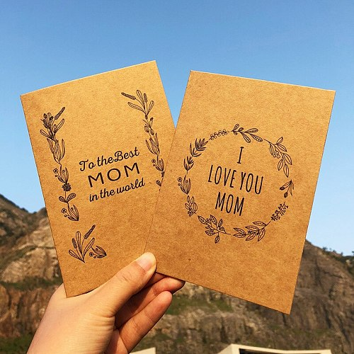 Kraft Paper Retro Wreath Mother's Day Greeting Card Send Envelopes Kraft Papercards Vintage Wreath Cards APPY MOTHERSDAY 5PCS