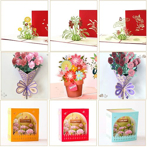 3D Mothers Day Cards Flowers Card Anniversary Birthday Gifts Card Thank you Greeting Card for All Occasions Wife Her Girl
