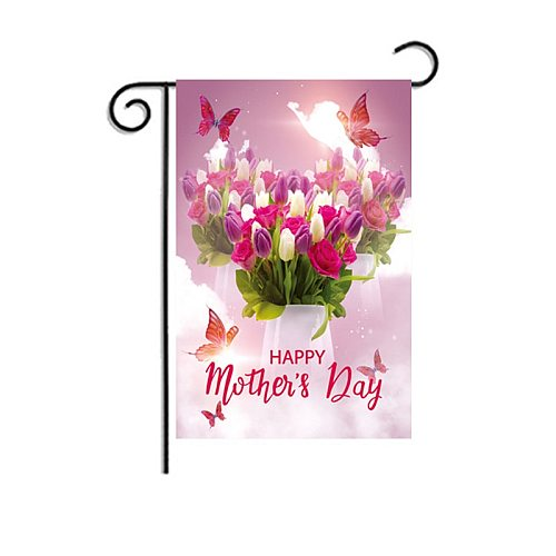 Happy Mother's Day Garden Party Decor Banner Romantic Flowers Love Heart Photography Background Outdoor Flag Surprising Gift
