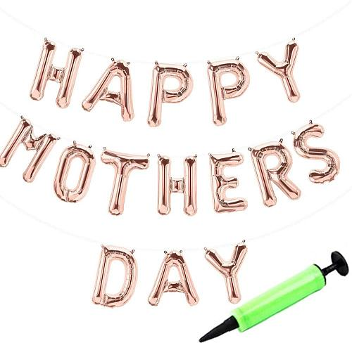 Happy Mother's Day Rose Gold Balloons Banner with Mini Pump, Party Decorations Hanging Foil Letter Self Sealing 16inch