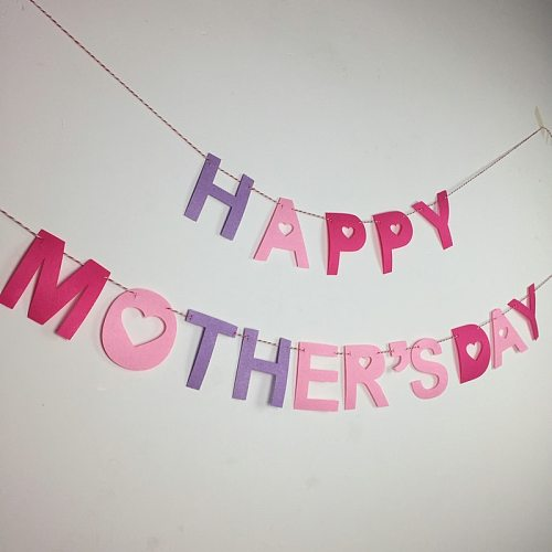 Happy Mother's Day Banner Felt Decoration Room Supplies Festive & Party theme Mom Pink Mother Birthday Deco