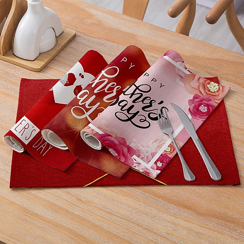 Mother's Day Tableware Pad Placemat Table Mat Cotton And Linen Placemat Love Series Non-slip Insulation Pad Kitchen Accessories