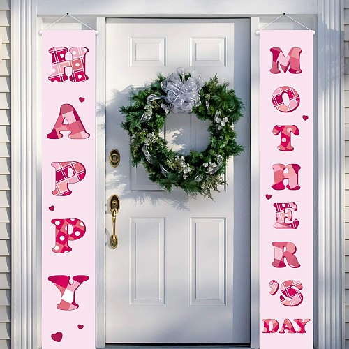Happy Mother's Day Banner Sign Outdoor And Indoor Mothers Day Decoration  Room Supplies Festive Party Theme Mom Pink Deco