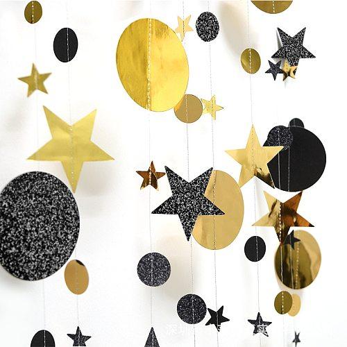 Eid Muabrak Decoration 4M Gold Black Paper Garland Star Round Shape Banner Bunting for Baby Shower Birthday Wedding Party Suppli