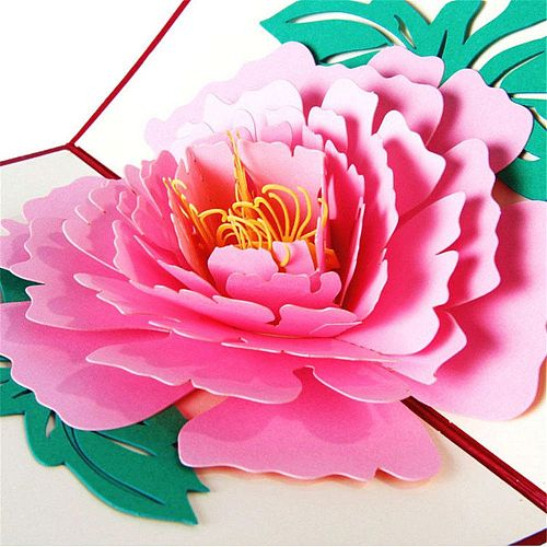 1pc 3D Greeting Cards Peony Birthday Valentine Mother Day Christmas Thanksgiving Gifts Hot Sale Good Quality