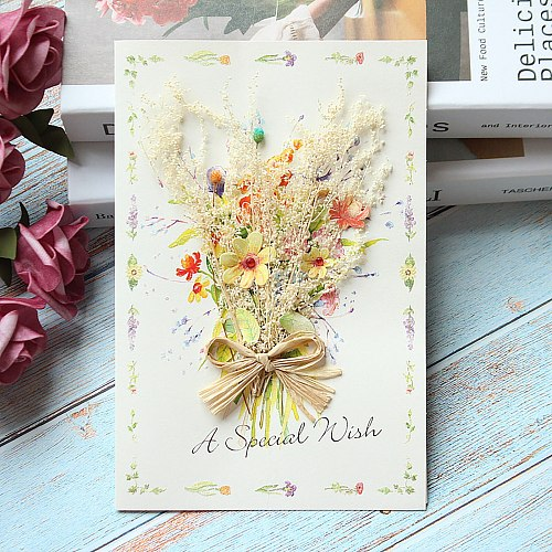 Mother's Day Cards Carnation Dried Flower Greeting Card Mother's Day Birthday Card Party Invitations Holiday Decorations Cards