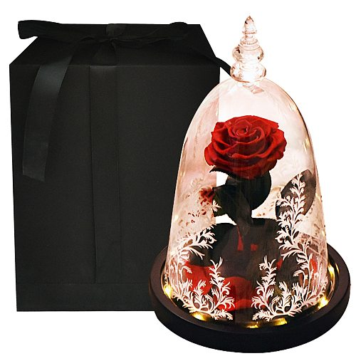 Beauty and The Beast Eternal Rose Artifical Flowers In Glass Dome with LED Light Night Lamp Velentine Mothers Day Gifts for Girl