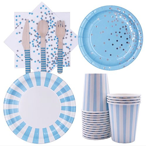 High-quality Blue Disposable Tableware Boy Baby Shower Decor Baby 2 1st 1 One Birthday Party Decor Gift Babyshower Supplie