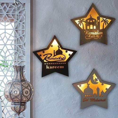 LED Light Moon Star Ramadan EID Mubarak Decoration Wooden Ornament Islamic Muslim Eid Used For Home Party Decoration