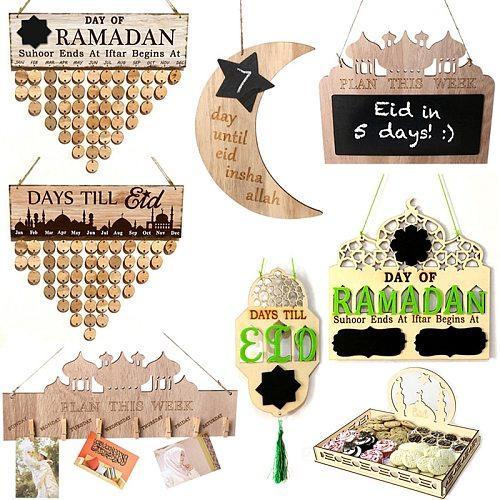 Wooden Countdown Ramadan Calendar Hanging Decor Eid Mubarak Ramadan Muslim Islam Deacors for Home Ramadan Favors