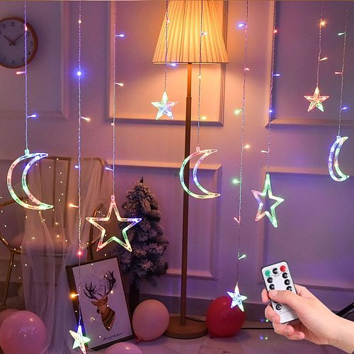 LED icicle Star Moon Lamp Fairy Curtain String Lights Christmas Garland Outdoor For Bar Home Wedding Party Garden Window Decor
