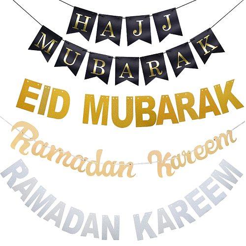 Eid Mubarak Decoration Gold Silver Balloons Eid Banner Bunting Islamic Muslim Hajj Mubarak Festival Party DIY Ramadan Decor