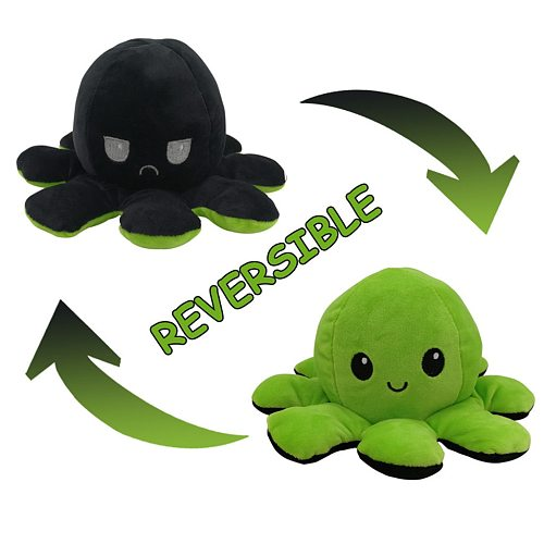 Emotion Mood Octopus Soft Toy, Double-Sided Flip Octopus Doll, Cute Soft Reversible Octopus Stuffed Animals Doll as A Gift for Kids & Lovers.