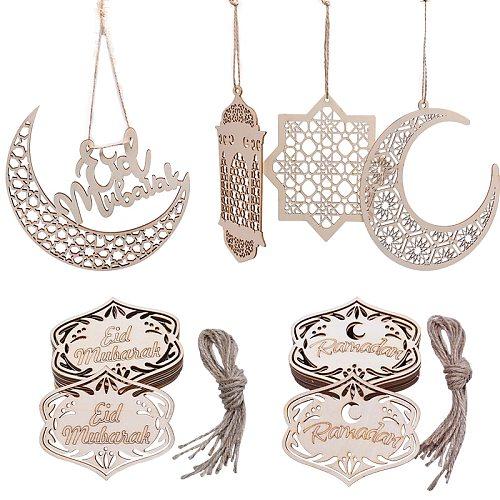 Creative Eid Mubarak Muslim Ramadan Wooden Tag Hanging Ornaments DIY Moon Wood Pendant Muslim Islam Kareem Party Decorations