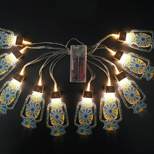 Eid Mubarak Handmade Wire 10 LED Light String 2m Eid Ramadan Islamic Battery Supply Indoor Home Party RDV FAS6