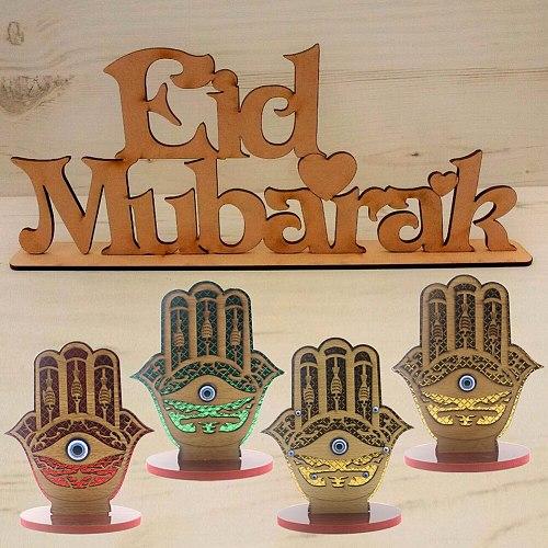 Wooden Craft Palm Shaped Islam Eid Mubarak Ramadan Gurban Home Table Decoration Festival Party Favor Gift