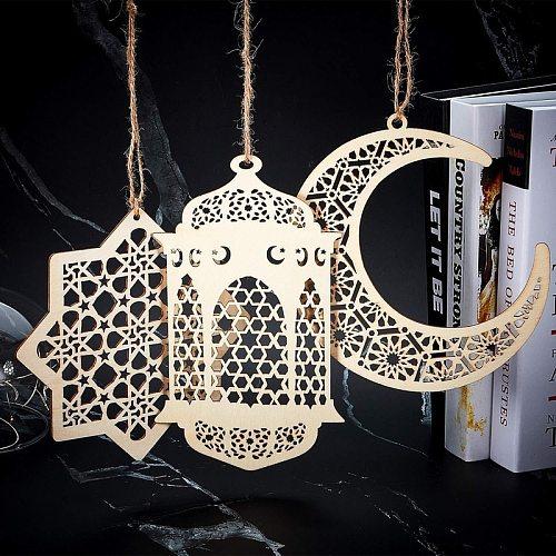 3pcs/Set Ramadan Eid Mubarak Wood Craft Moon Plaque Decorations for Home Hanging Ornament Pendant Islam Muslim Party Supplies