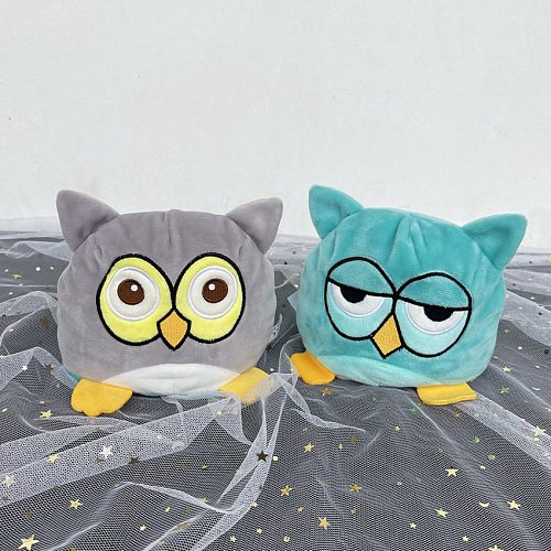 Kawaii Two-sided Rabbit pulpo Plush Toys Mood Owl Emotion Cat Gato Doll Double-Sided Flip Doll Peluches For Pulpos Kid Gift