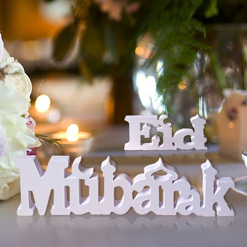 EID Mubarak Ornaments Dining Table White Letter Ornaments Ramadan Decorations For Home Islamic Muslim Party Supplies