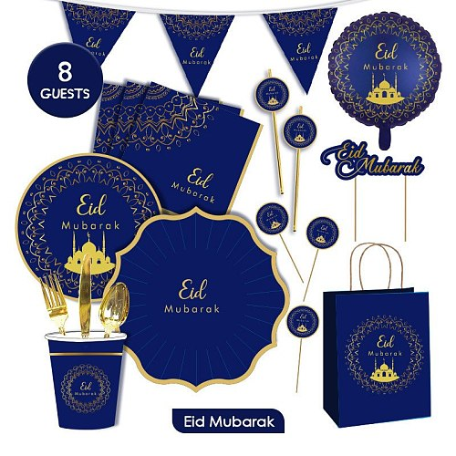 EID Party Disposable Tableware Paper Plate Cup Paper Towel Banner Islamic Muslim Festival Party Decoration Ramadan Eid Gifts
