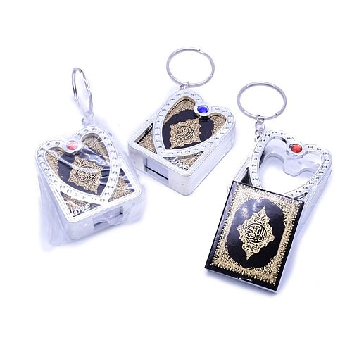 5pcs/lot Gold Silver Arabic real Quran Keychain Eid Mubarak mascot Muslim Party Memorial gift for Guests Purse Car Decor