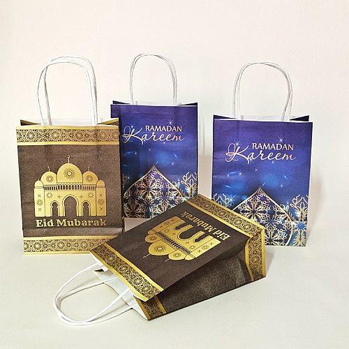 20x15x8cm Gift Bag Ramadan Kraft Paper Bag Muslim Eid Mubarak Golden Tote Bags 10/20/50pcs Commemorative Gift Packaging