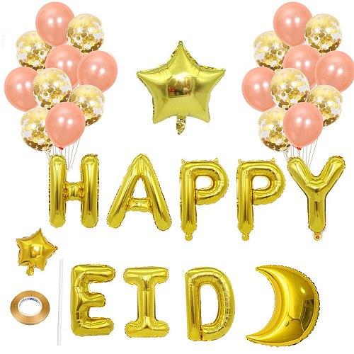 Eid Mubarak Decoration Sequined Balloon Set Ramadan Party Decoration Moon Aluminum Foil Balloons Wholesale