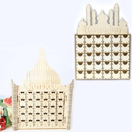 EID Mubarak Decorations Countdown Calendar Advent Wooden Castle Drawer Castle Table Decorations For Muslim Ramadan Carft
