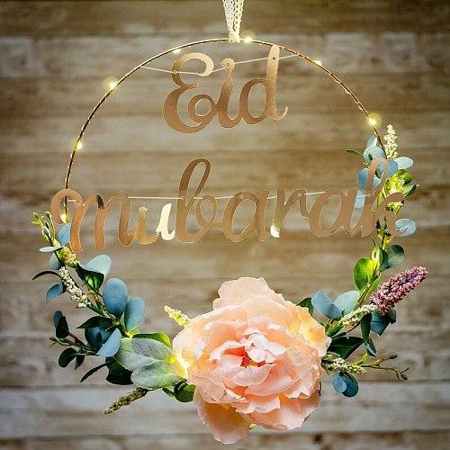 Ramadan Decoration Golden Metal Garland Hoop Iron Hoop Jabal Decoration Eid Mubarak Ramadan DIY Decoration Artificial Flower