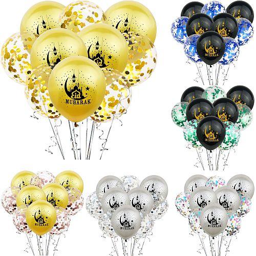 10pcs Eid Mubarak Balloons Confetti Balloons Islamic New Year Decor Happy Ramadan Muslim Festival Decoration Ramadan supplies