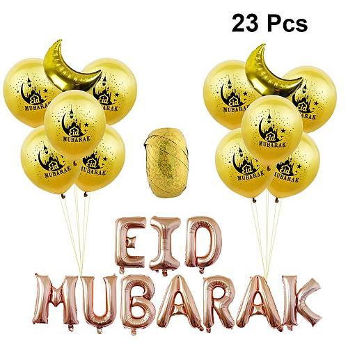 23pcs EID MUBARAK Letter Aluminum Foil Balloons Beautiful Printed Latex Balloons Muslim Eid Mubarak Party Decor (Rose Gold)
