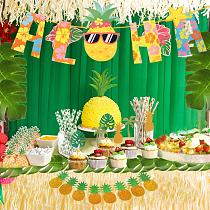 Hawaiian Tropical Pineapple Party Supplies Gold Glittery ALOHA Party Banners with Palm Leaves for Birthday Party Decorations