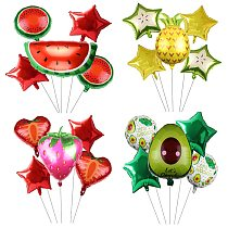 6pcs fruit set aluminum film balloons Set  summer fruit hawaiian party birthday layout party decorations Supplies Weeding Deccor