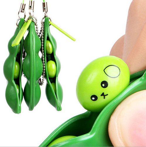 3PCS Fun Fidget Toys Beans Peas Toys Pendants Stressball Funny Gadgets Squishy Xmas Fidget Toys Squishy Squeeze Anti Stress (Wholesale Support)