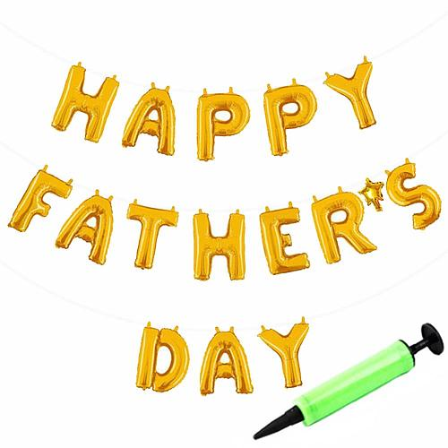 Happy Father's Day Hanging Balloons Banner with Mini Pump,Party Decorations Foil Golden  Letter Self Sealing 16 Inch