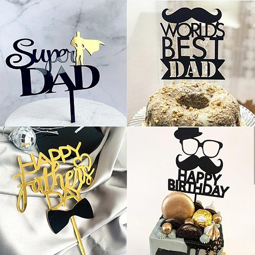 New Super Dad Acrylic Cake Topper Gold Dad  Father Birthday Cake Topper for Father's day Daddy Birthday Party Cake Decorations