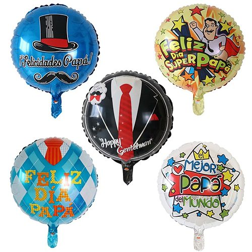 10pcs 18inch Spanish Happy Father's Day Balloons Feliz Dia Super Papa Helium Air Globos Father Mother Party Decorations Baloes