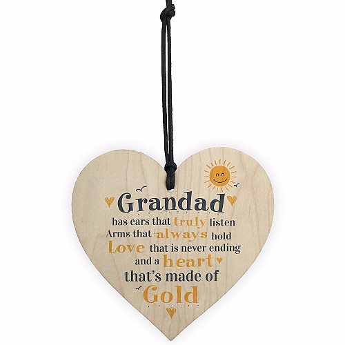 Fathers Day Wooden Heart Plaque Dad Grandad Grandpa Birthday Gift From Grandchildren Christmas Home DIY Tree Decorations