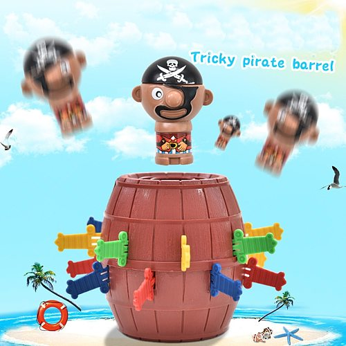 2021 Hot Sale Funny Novelty Kids Children Lucky Game Gadget Jokes Tricky Pirate Barrel Game Pirate Bucket Kiddie Toy