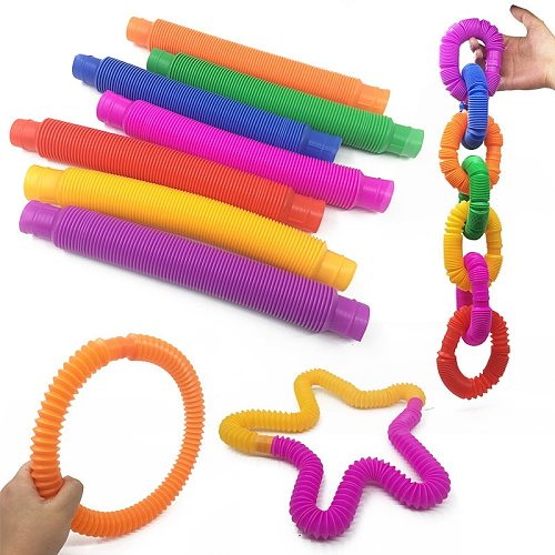 3/5/10/20pcs Colorful Plastic Pop Fidget Tube Coil Children'S Creative Magical Toy Circle Funny Toys Early Development Educational Folding Toy