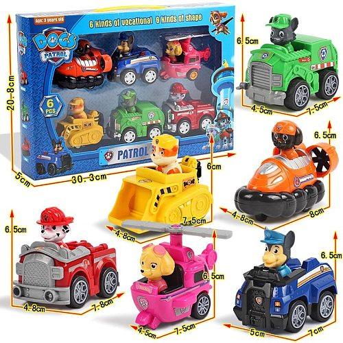 Paw Patrol Full Set Of 9 Puppy Patrol Car Patrol Dog Toys Plastic Material Cartoon Modeling Kids Toys Pull Back Car