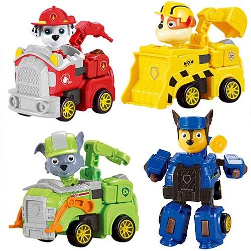 Paw Patrol Dog Toy Deformation Car Anime Doll Rocky Skye Zuma Perro Everest  Doll Model Children Christmas Gift Kids Toys