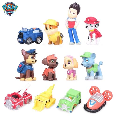 12pcs Paw Patrol Birthday Cake Decoration Puppy Patrol PVC Material Patrulha Canina Toys For Children Birthday Gifts