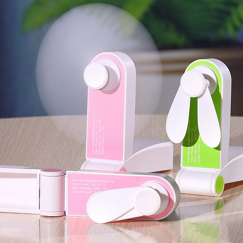 USB Mini Fold Fan Electric Portable Hold Small Air Cooler Originality Charging Household Electrical Appliances Desktop Ventilado