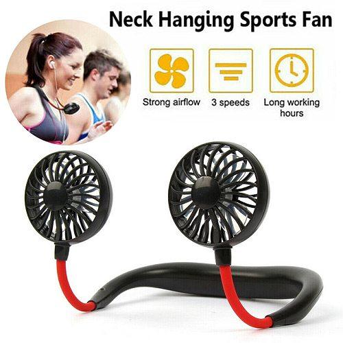 2021 New 360 Degree USB Fan Rechargeable Neck band Fan For Outdoor Office Sport Hand Free Mini Neck Double Fans 3 Speed Adjustab