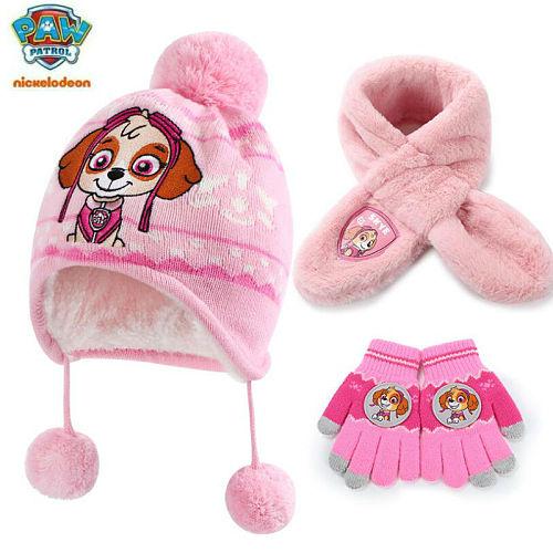 3pcs/set Genuine paw patrol hat glove scarf chase skye for boys girls puppy patrol children toy birthday gift