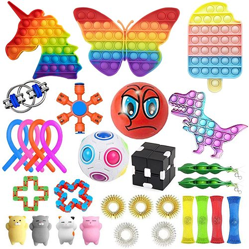 30+ PCS Big Saving Free Shipping  Cheap Fidget Toys Kit Stress Relief Toys Anti Stress Set Stress Relief Cube Anti-Stress ball Fidget Pack Fidget Cube For Adults Children For ADHD Autism Anxiety Relief